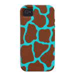 Turquoise Giraffe Print iPhone 4 Case Mate