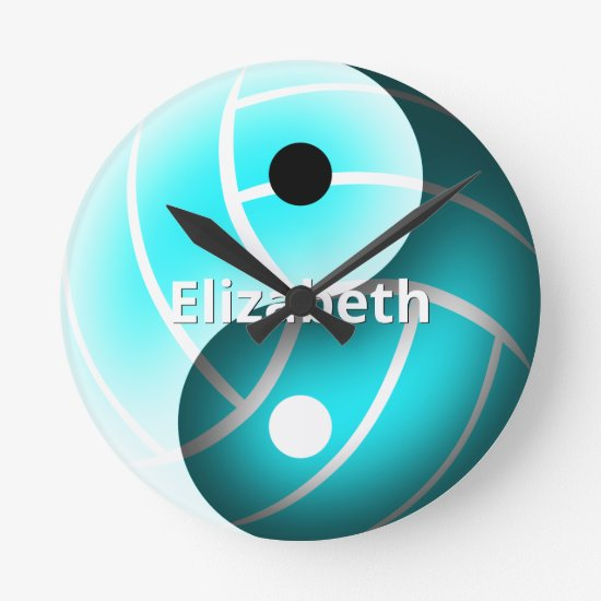 turquoise girls yin yang volleyball personalized round clock