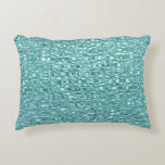"Turquoise Glass Decorative Pillow<br><div class=""desc"">Here&#39;s a pillow that&#39;s both attractive and interesting. The shimmering pattern looks like glass pieces fitted together in a pretty turquoise color. Unique and funky! **Please note -- the image is printed on the fabric,  and contains no actual glass or substance other than fabric.**</div>"