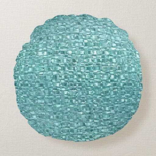 Turquoise Glass Pillow Round Pillow Zazzle