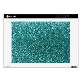 Turquoise glitter acer chromebook skin