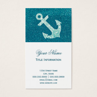 Turquoise glitter and Aqua Bokeh Anchor Business Card