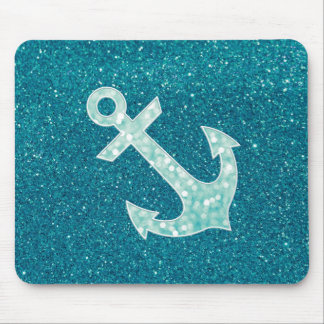 Turquoise glitter and Aqua Bokeh Anchor Mouse Pad