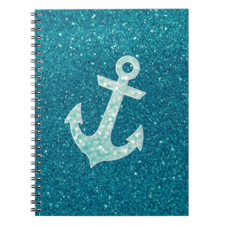 Turquoise glitter and Aqua Bokeh Anchor Spiral Note Books