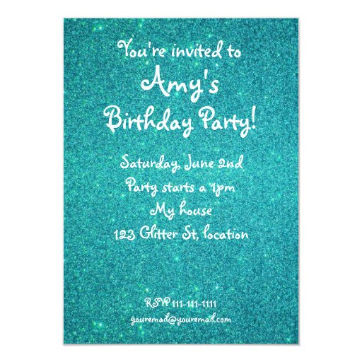 "Turquoise glitter birthday invitation 4.5"" x 6.25"" invitation card"