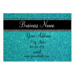 Turquoise glitter bling business card