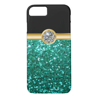 Turquoise Glitter Bling iPhone 7 Case