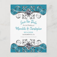 Turquoise Glitter Bling Wedding Save the Date Announcement Postcard