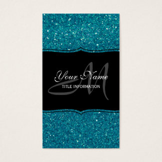 Turquoise Glitter Business Card