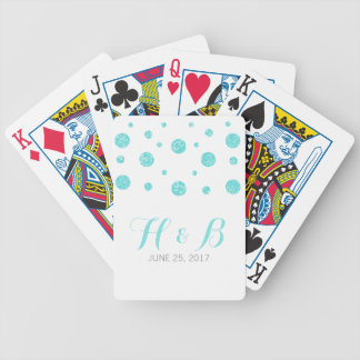 Turquoise Glitter Confetti Playing Cards