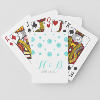 Turquoise Glitter Confetti Wedding Playing Cards