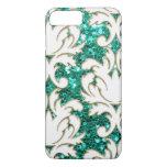Turquoise Glitter Damask iPhone 7 Plus Case