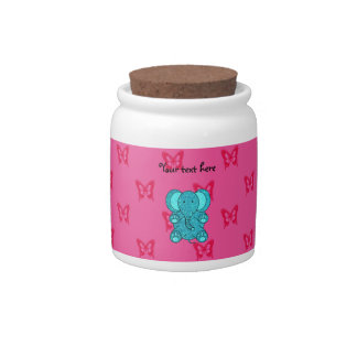 Turquoise glitter elephant pink butterflies candy dish