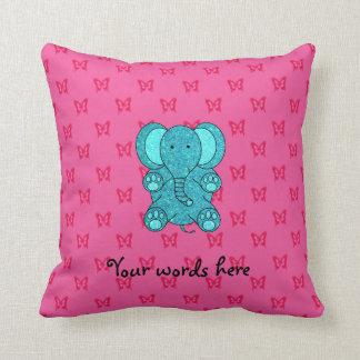 Turquoise glitter elephant pink butterflies throw pillows