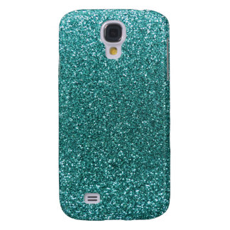 Turquoise glitter galaxy s4 cover
