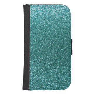 Turquoise glitter galaxy s4 wallet case