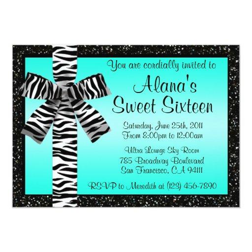 "Turquoise Glitter Invite With Zebra Print Bow 5"" X 7"" Invitation Card"