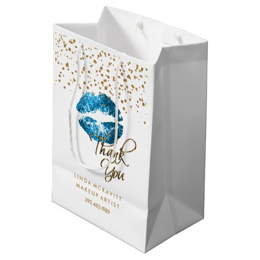 Turquoise Glitter Lipstick on White - Thank You Medium Gift Bag