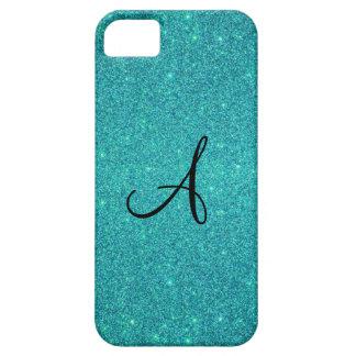 Turquoise glitter monogram iPhone 5 cases