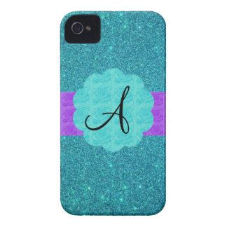 Turquoise glitter monogram iPhone 4 covers