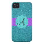 Turquoise glitter monogram iPhone 4 Case-Mate cases