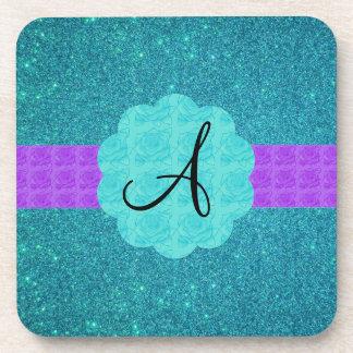 Turquoise glitter monogram coaster