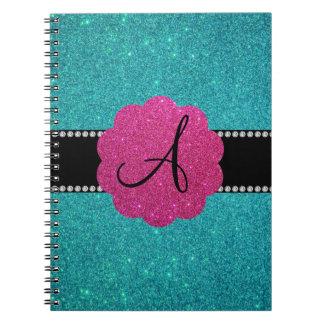 Turquoise glitter monogram diamonds pink spiral notebook