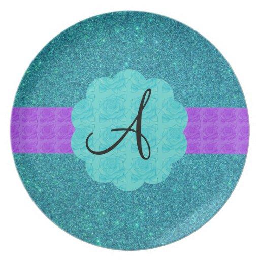 Turquoise glitter monogram dinner plate