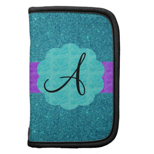 Turquoise glitter monogram folio planner