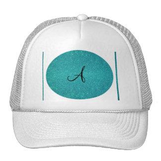Turquoise glitter monogram trucker hat