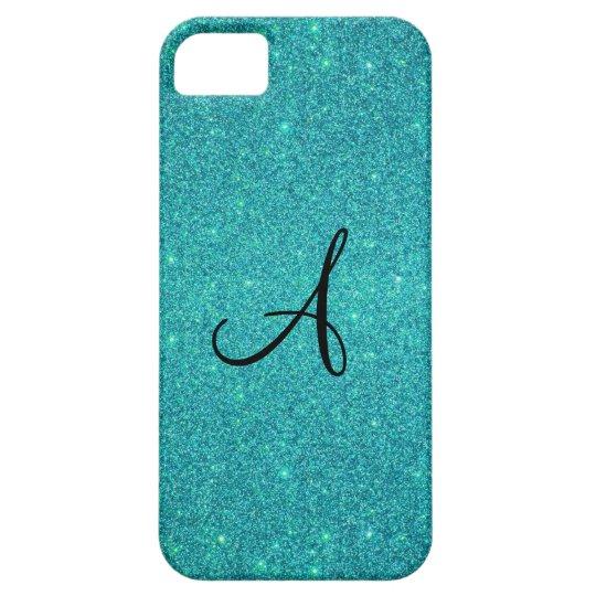 Turquoise glitter monogram iPhone SE/5/5s case