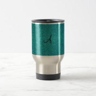 Turquoise glitter monogram coffee mugs