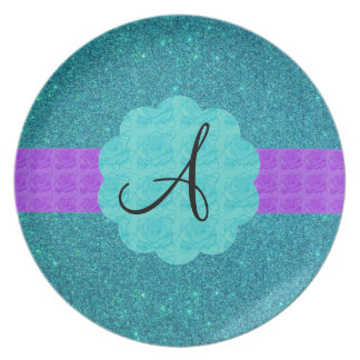Turquoise glitter monogram party plate