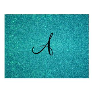Turquoise glitter monogram postcard