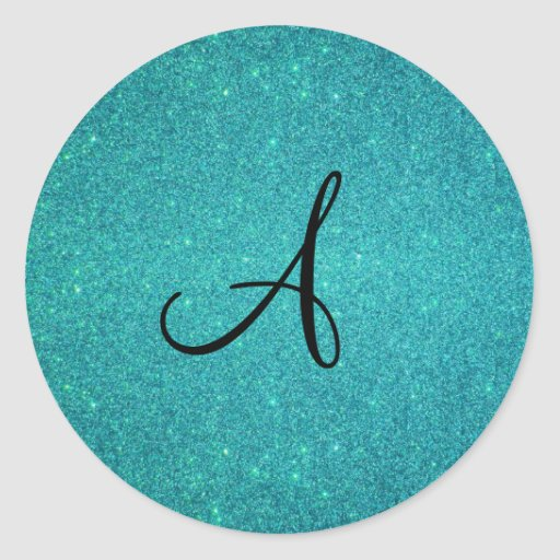Turquoise glitter monogram sticker