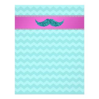 "Turquoise glitter mustache 8.5"" x 11"" flyer"