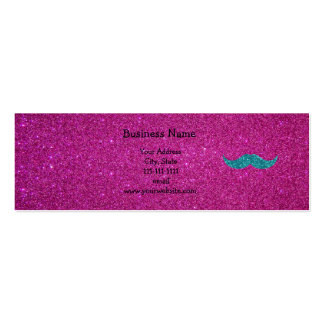 Turquoise glitter mustache Double-Sided mini business cards (Pack of 20)