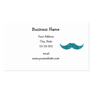 Turquoise glitter mustache Double-Sided standard business cards (Pack of 100)