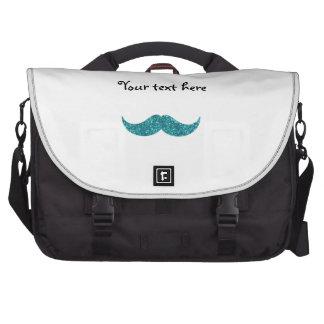 Turquoise glitter mustache commuter bags