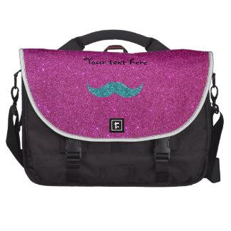Turquoise glitter mustache bag for laptop