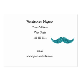 Turquoise glitter mustache large business card