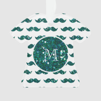 Turquoise Glitter Mustache Pattern Your Monogram