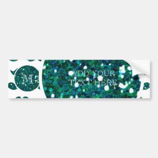 Turquoise Glitter Mustache Pattern Your Monogram Bumper Sticker