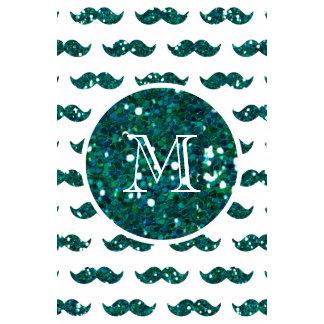 Turquoise Glitter Mustache Pattern Your Monogram Calendar