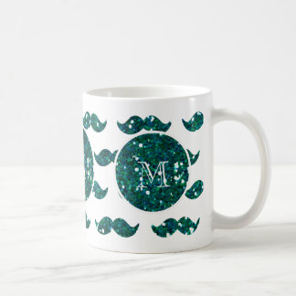 Turquoise Glitter Mustache Pattern Your Monogram Coffee Mug