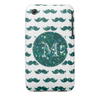 Turquoise Glitter Mustache Pattern Your Monogram iPhone 3 Case