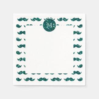 Turquoise Glitter Mustache Pattern Your Monogram Napkin