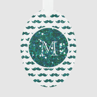 Turquoise Glitter Mustache Pattern Your Monogram Ornament