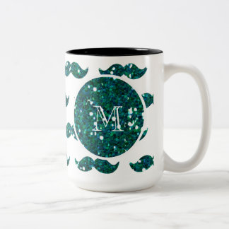 Turquoise Glitter Mustache Pattern Your Monogram Two-Tone Coffee Mug