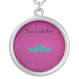 Turquoise glitter mustache silver plated necklace